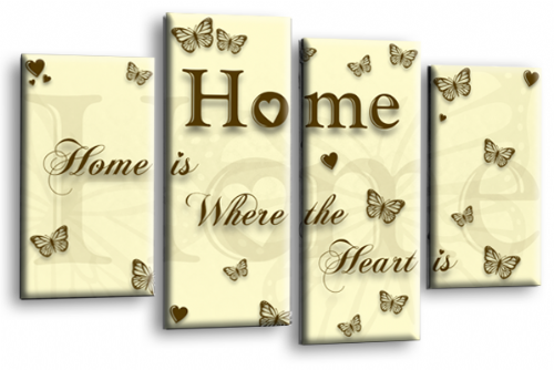 Home Quote Wall Art Print Cream Brown Love Split Picture